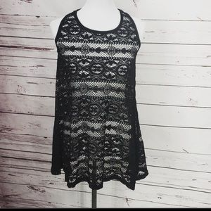 West loop black lace beach cover up dress